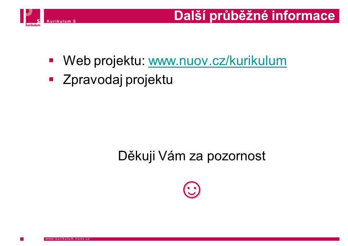Další průběžné informace  Web projektu: www.nuov.cz/kurikulumwww.nuov.cz/kurikulum  Zpravodaj projektu Děkuji Vám za pozornost☺