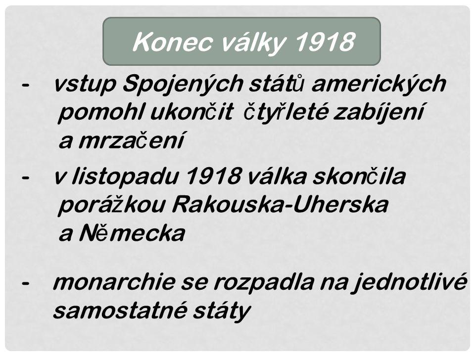 Konec války 1918 -vstup Spojených stát ů amerických pomohl ukon č it č ty ř leté zabíjení a mrza č ení -v listopadu 1918 válka skon č ila porá ž kou Rakouska-Uherska a N ě mecka -monarchie se rozpadla na jednotlivé samostatné státy