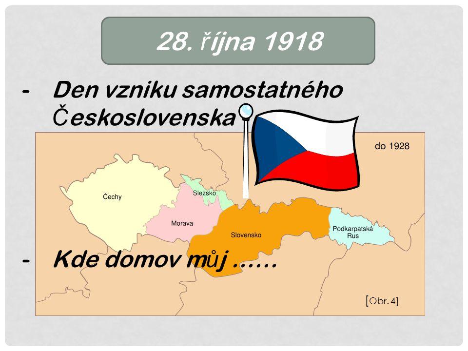 28. ř íjna 1918 -Den vzniku samostatného Č eskoslovenska -Kde domov m ů j …… [ Obr. 4]