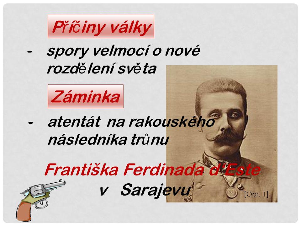 P ř í č iny války -spory velmocí o nové rozd ě lení sv ě ta Záminka -atentát na rakouského následníka tr ů nu Františka Ferdinada d'Este v Sarajevu [ Obr.