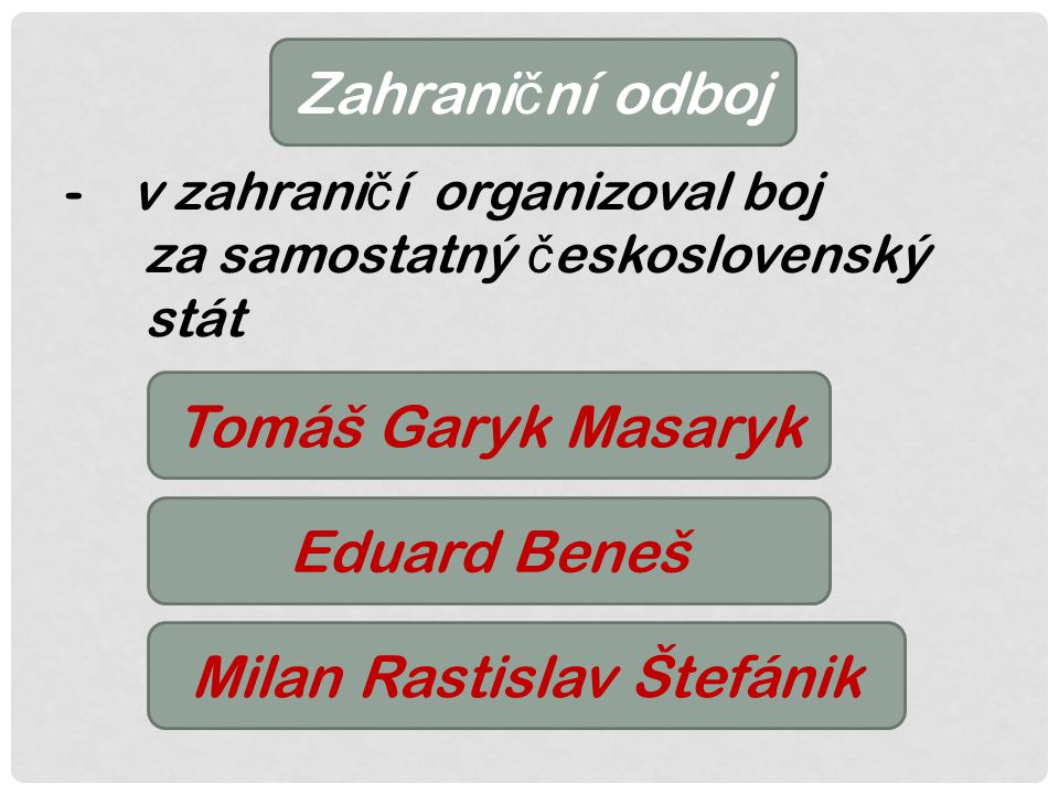 Zahrani č ní odboj -v zahrani č í organizoval boj za samostatný č eskoslovenský stát Tomáš Garyk Masaryk Eduard Beneš Milan Rastislav Štefánik