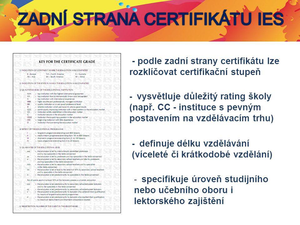Certifikační stupeň - podle zadní strany certifikátu lze rozklíčovat certifikační stupeň - vysvětluje důležitý rating školy (např. CC - instituce s pe