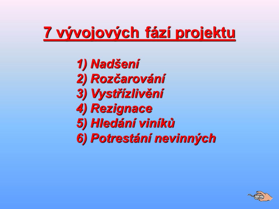 7 vývojových fází projektu 1)Nadšení 1)Nadšení 2)Rozčarování 3)Vystřízlivění 4)Rezignace 5)Hledání viníků