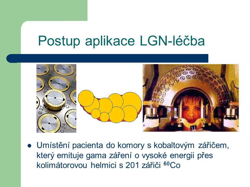 Postup aplikace LGN-léčba Umístění pacienta do komory s kobaltovým zářičem, který emituje gama záření o vysoké energii přes kolimátorovou helmici s 201 zářiči 60 Co