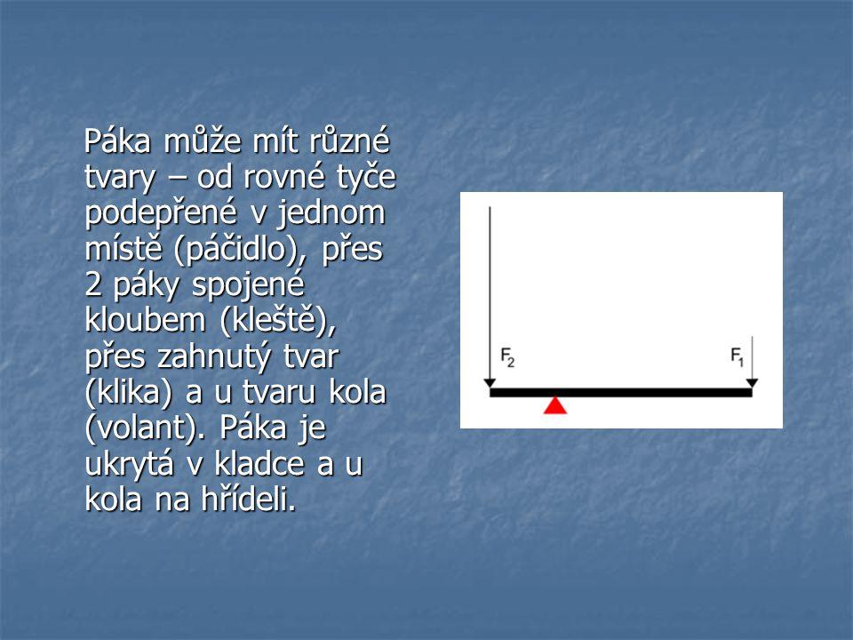 Páka může mít různé tvary – od rovné tyče podepřené v jednom místě (páčidlo), přes 2 páky spojené kloubem (kleště), přes zahnutý tvar (klika) a u tvar