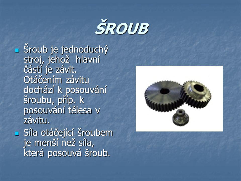 ŠROUB Šroub je jednoduchý stroj, jehož hlavní částí je závit. Otáčením závitu dochází k posouvání šroubu, příp. k posouvání tělesa v závitu. Šroub je