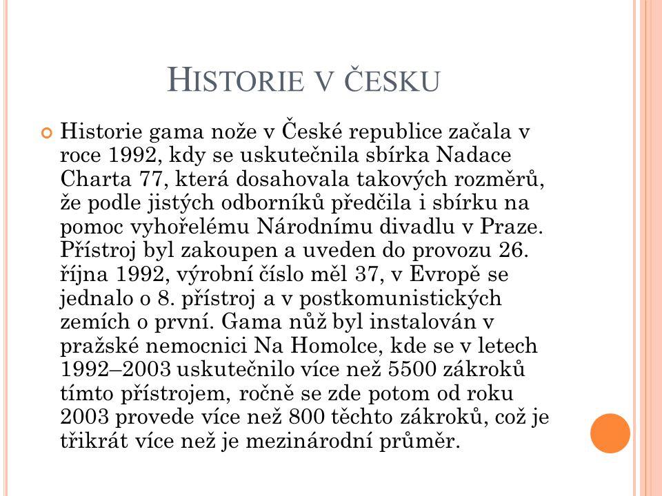 H ISTORIE V ČESKU Historie gama nože v České republice začala v roce 1992, kdy se uskutečnila sbírka Nadace Charta 77, která dosahovala takových rozmě