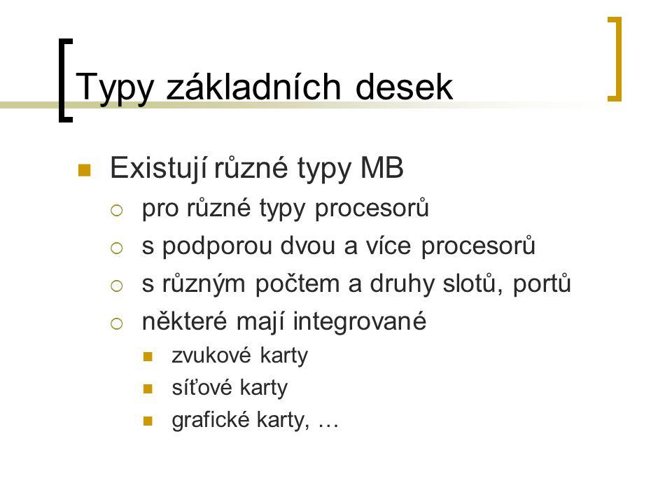 Typy základních desek Existují různé typy MB  pro různé typy procesorů  s podporou dvou a více procesorů  s různým počtem a druhy slotů, portů  ně