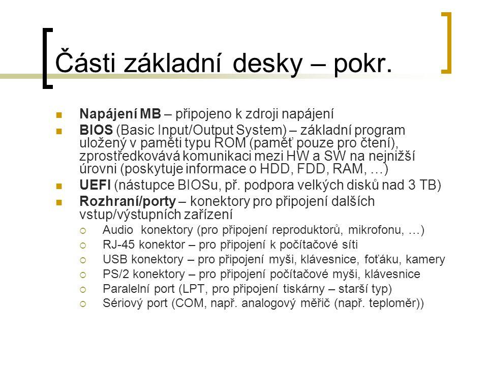 Části základní desky – pokr. Napájení MB – připojeno k zdroji napájení BIOS (Basic Input/Output System) – základní program uložený v paměti typu ROM (