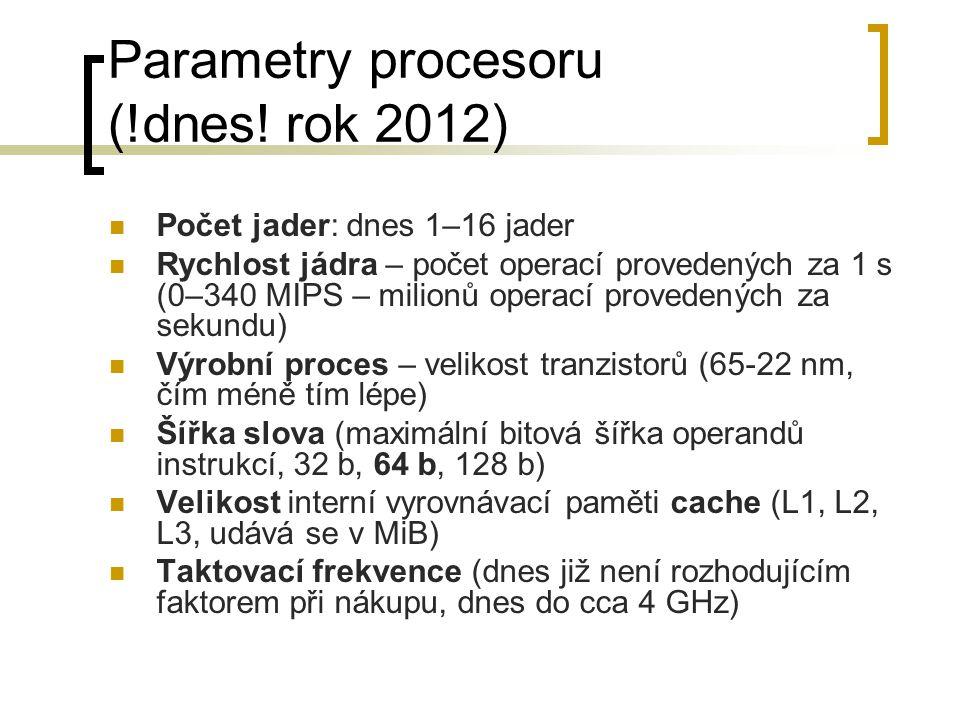 Parametry procesoru (!dnes! rok 2012) Počet jader: dnes 1–16 jader Rychlost jádra – počet operací provedených za 1 s (0–340 MIPS – milionů operací pro