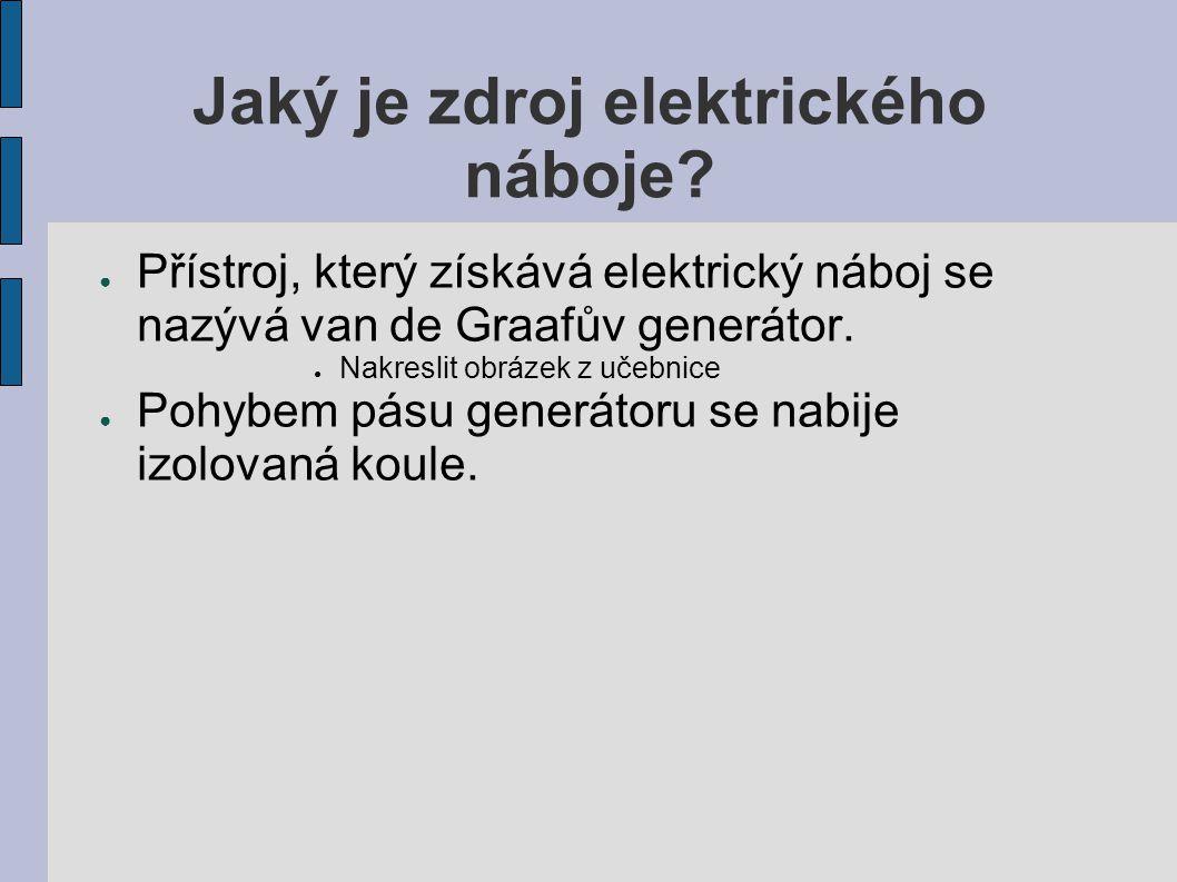 Jaký je zdroj elektrického náboje? ● Přístroj, který získává elektrický náboj se nazývá van de Graafův generátor. ● Nakreslit obrázek z učebnice ● Poh