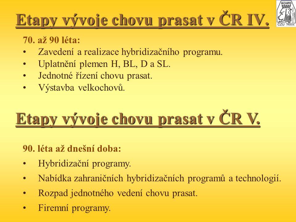 Etapy vývoje chovu prasat v ČR IV.70. až 90 léta: Zavedení a realizace hybridizačního programu.