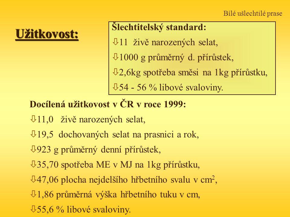 Bílé ušlechtilé praseUžitkovost: Docílená užitkovost v ČR v roce 1999: ò 11,0 živě narozených selat, ò 19,5 dochovaných selat na prasnici a rok, ò 923 g průměrný denní přírůstek, ò 35,70 spotřeba ME v MJ na 1kg přírůstku, ò 47,06 plocha nejdelšího hřbetního svalu v cm 2, ò 1,86 průměrná výška hřbetního tuku v cm, ò 55,6 % libové svaloviny.