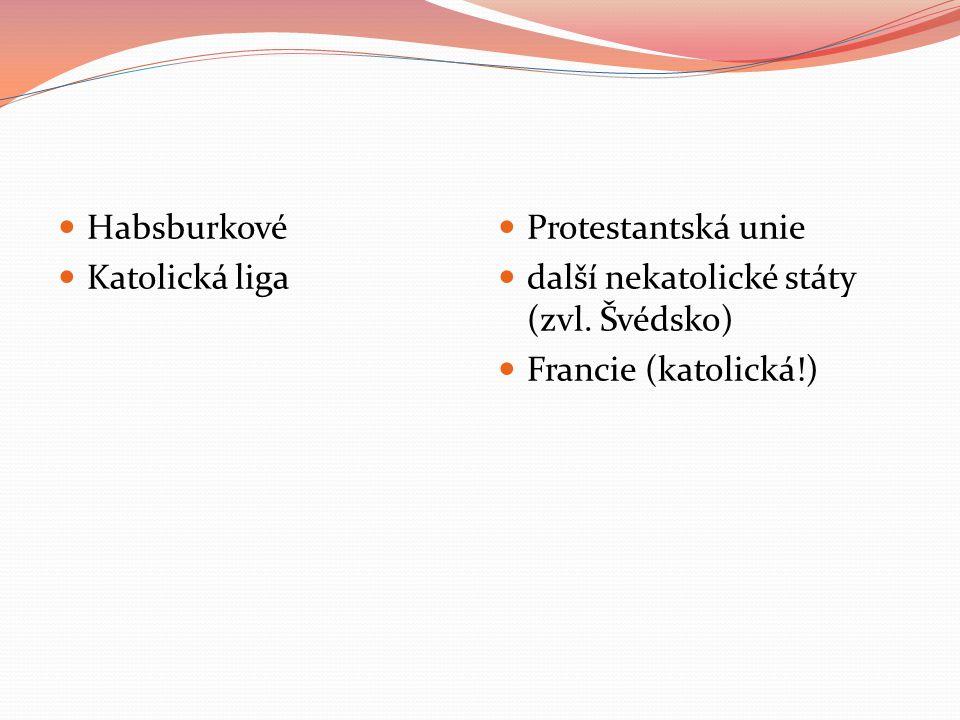 Habsburkové Katolická liga Protestantská unie další nekatolické státy (zvl. Švédsko) Francie (katolická!)