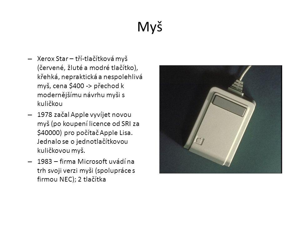 Myš – Xerox Star – tří-tlačítková myš (červené, žluté a modré tlačítko), křehká, nepraktická a nespolehlivá myš, cena $400 -> přechod k modernějšímu n