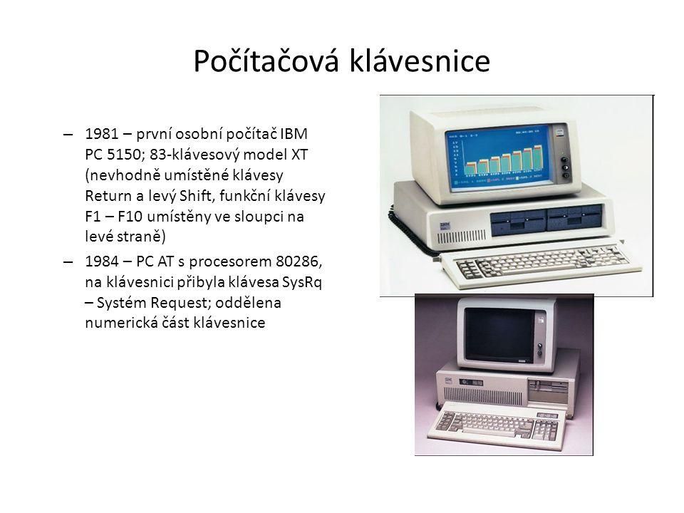 Počítačová klávesnice – 1981 – první osobní počítač IBM PC 5150; 83-klávesový model XT (nevhodně umístěné klávesy Return a levý Shift, funkční klávesy
