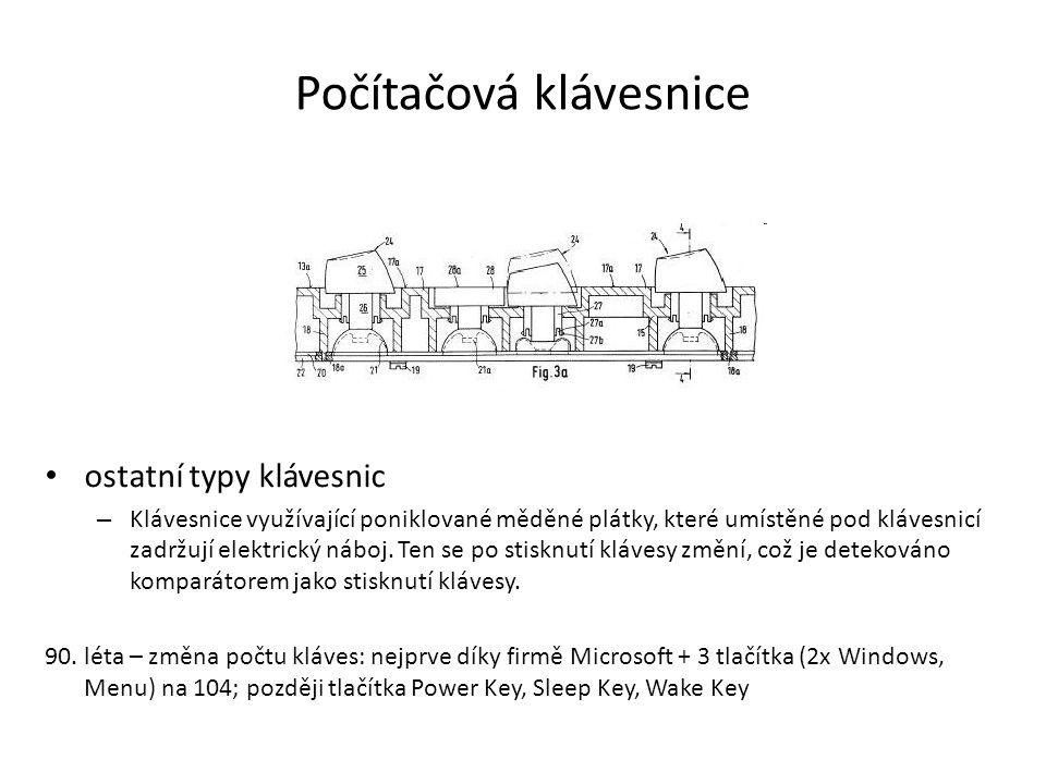 Počítačová klávesnice ostatní typy klávesnic – Klávesnice využívající poniklované měděné plátky, které umístěné pod klávesnicí zadržují elektrický náb