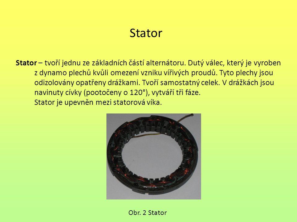 Stator Stator – tvoří jednu ze základních částí alternátoru. Dutý válec, který je vyroben z dynamo plechů kvůli omezení vzniku vířivých proudů. Tyto p