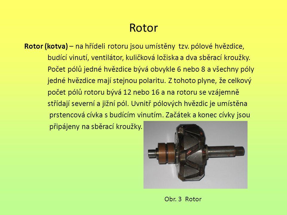 Rotor Rotor (kotva) – na hřídeli rotoru jsou umístěny tzv. pólové hvězdice, budící vinutí, ventilátor, kuličková ložiska a dva sběrací kroužky. Počet