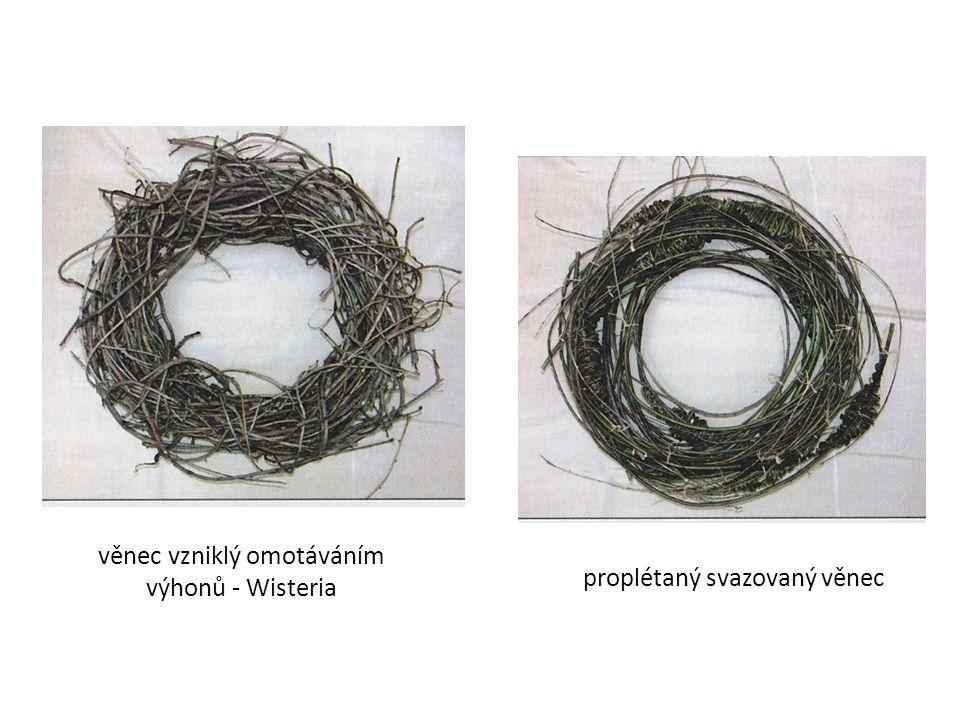 Opakování skobičkovaný věnec - připevňování rostlinného materiálu pomocí skobiček lepený věnec - rostlinný materiál připevňujeme k podložce pomocí lepidla proplétaný věnec - tělo věnce zhotovujeme stáčením, proplétáním a následným spojením z proutí, šlahounů, kousků větví, pedigu