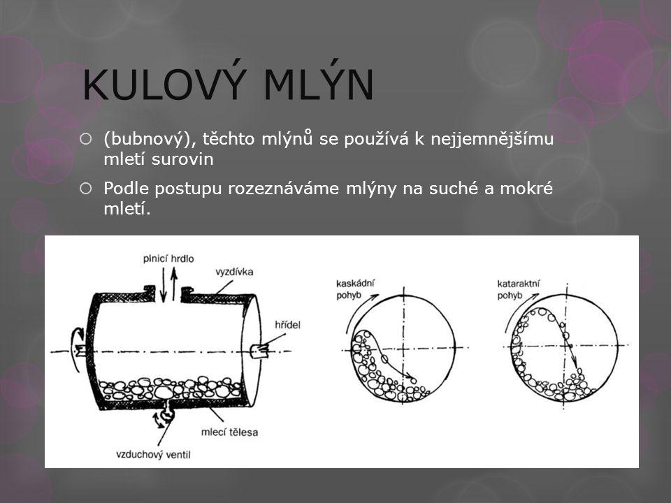 KULOVÝ MLÝN  (bubnový), těchto mlýnů se používá k nejjemnějšímu mletí surovin  Podle postupu rozeznáváme mlýny na suché a mokré mletí.