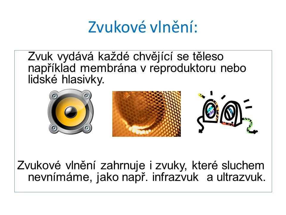 Zvukové vlnění: Zvuk vydává každé chvějící se těleso například membrána v reproduktoru nebo lidské hlasivky. Zvukové vlnění zahrnuje i zvuky, které sl