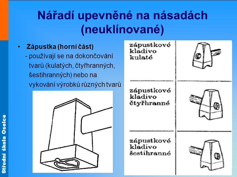 Střední škola Oselce Nářadí upevněné na násadách (neuklínované) Zápustka (horní část) - používají se na dokončování tvarů (kulatých, čtyřhranných, šes