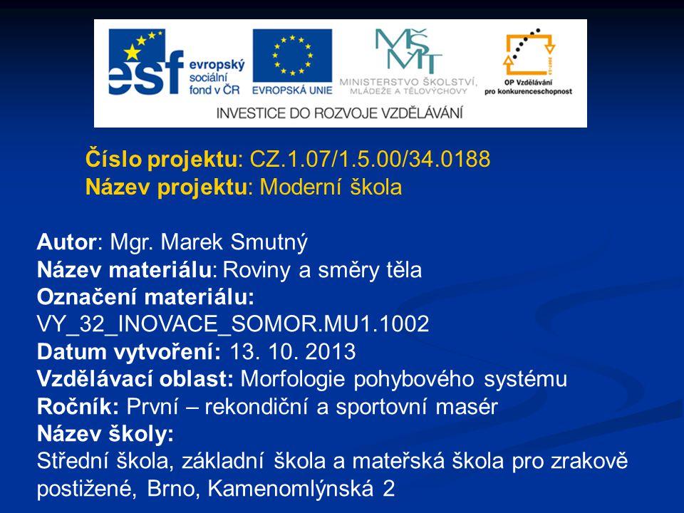Číslo projektu: CZ.1.07/1.5.00/34.0188 Název projektu: Moderní škola Autor: Mgr. Marek Smutný Název materiálu: Roviny a směry těla Označení materiálu: