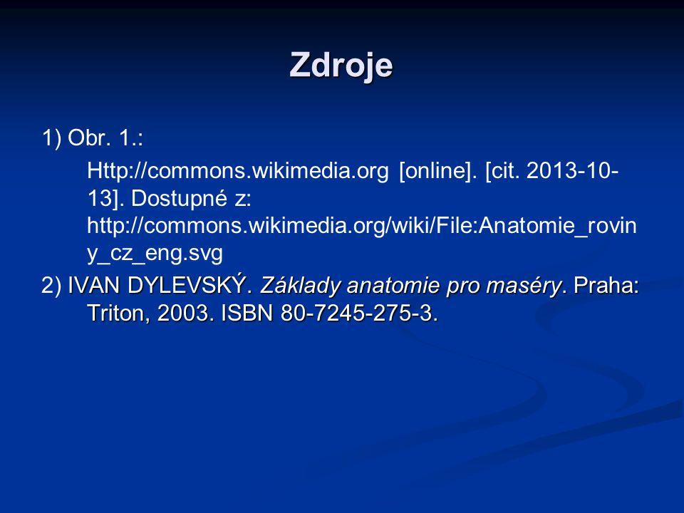 Zdroje 1) Obr. 1.: Http://commons.wikimedia.org [online]. [cit. 2013-10- 13]. Dostupné z: http://commons.wikimedia.org/wiki/File:Anatomie_rovin y_cz_e