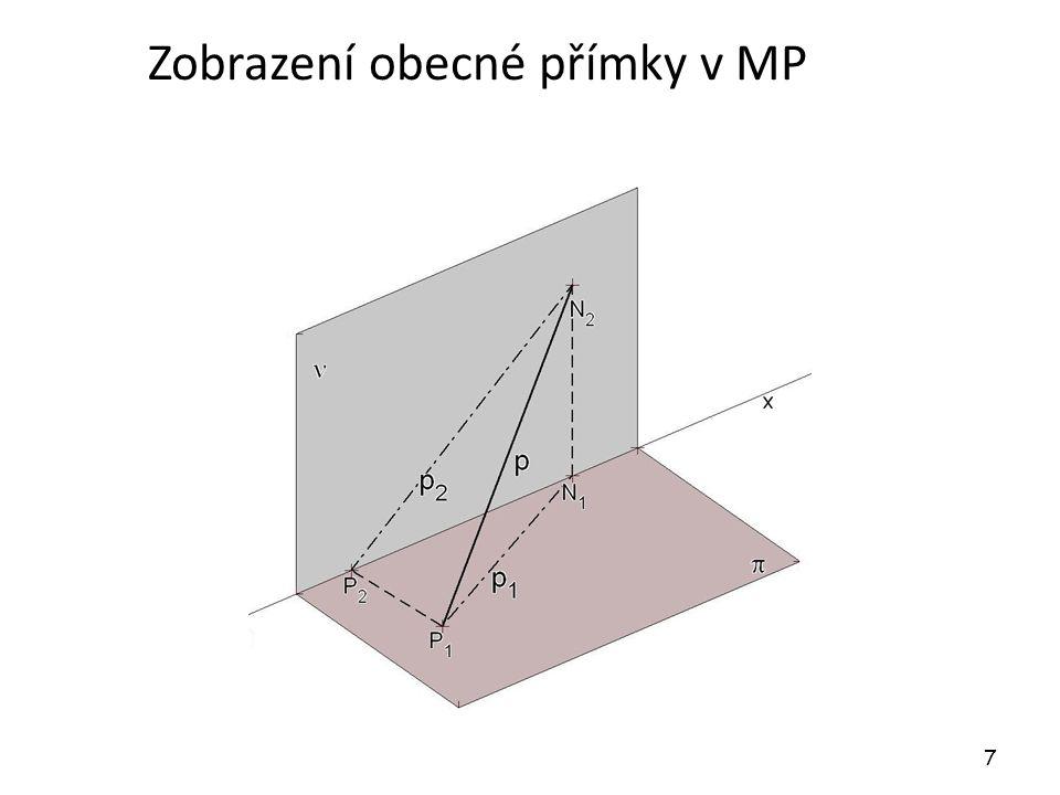 Dvojice přímek Přímky, které neleží v jedné promítací rovině, jsou různoběžné právě tehdy, když spojnice průsečíků stejných průmětů přímek je kolmá k základnici.