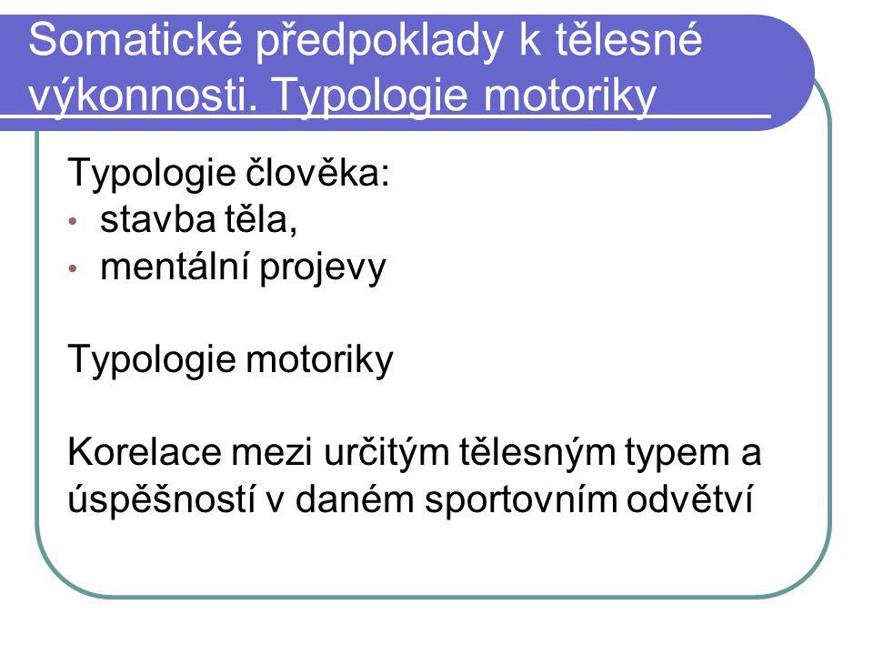 Somatické předpoklady k tělesné výkonnosti. Typologie motoriky Typologie člověka: stavba těla, mentální projevy Typologie motoriky Korelace mezi určit