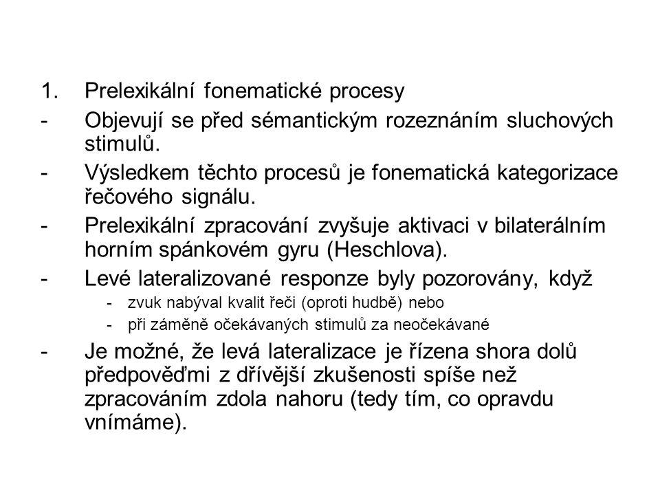 1.Prelexikální fonematické procesy -Objevují se před sémantickým rozeznáním sluchových stimulů. -Výsledkem těchto procesů je fonematická kategorizace