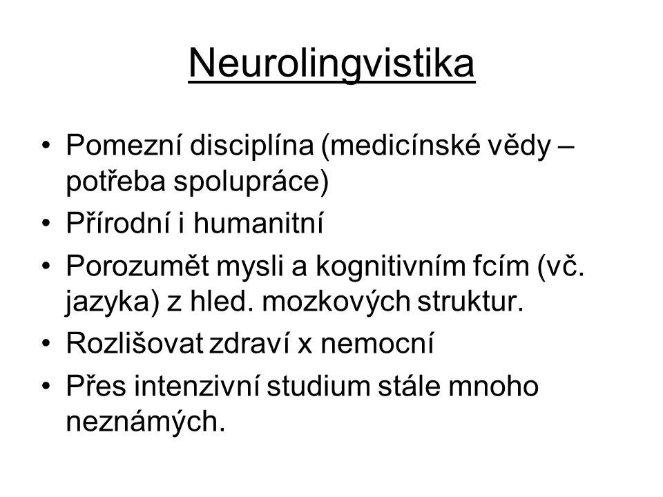 Neurolingvistika Pomezní disciplína (medicínské vědy – potřeba spolupráce) Přírodní i humanitní Porozumět mysli a kognitivním fcím (vč. jazyka) z hled