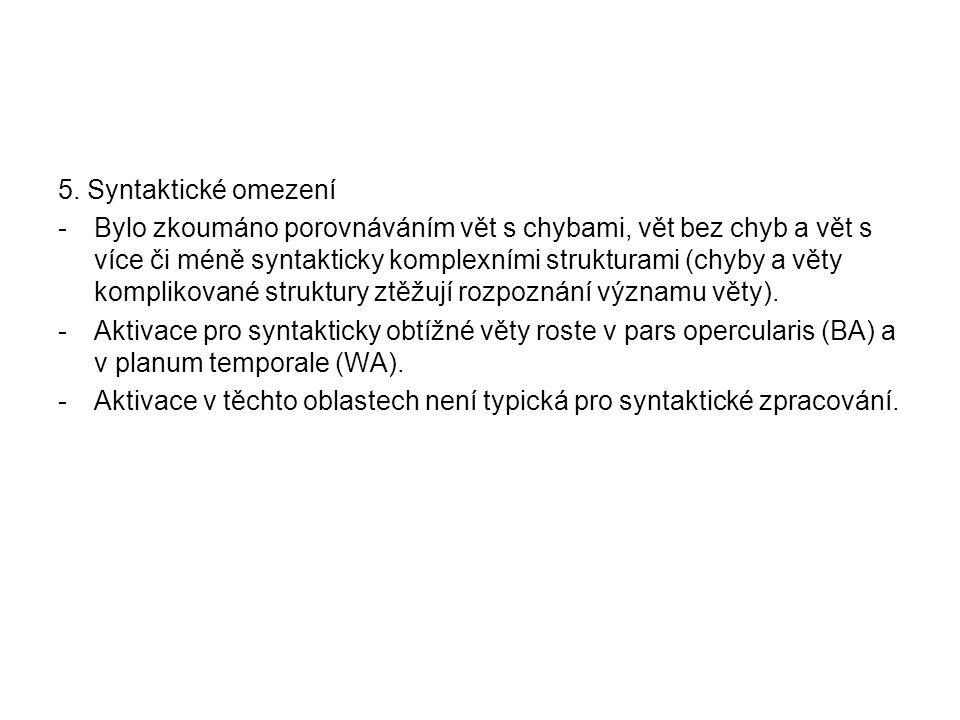 5. Syntaktické omezení -Bylo zkoumáno porovnáváním vět s chybami, vět bez chyb a vět s více či méně syntakticky komplexními strukturami (chyby a věty