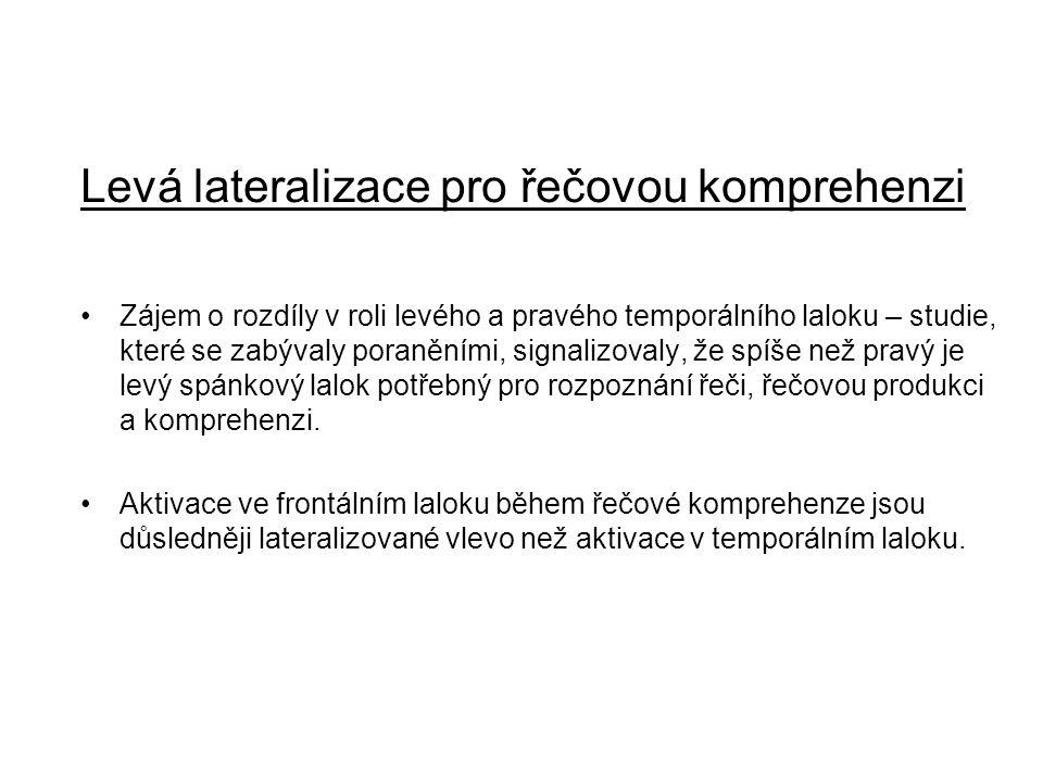 Levá lateralizace pro řečovou komprehenzi Zájem o rozdíly v roli levého a pravého temporálního laloku – studie, které se zabývaly poraněními, signaliz