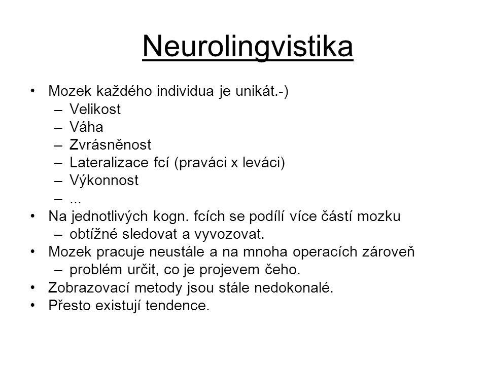 Neurolingvistika Mozek každého individua je unikát.-) –Velikost –Váha –Zvrásněnost –Lateralizace fcí (praváci x leváci) –Výkonnost –... Na jednotlivýc
