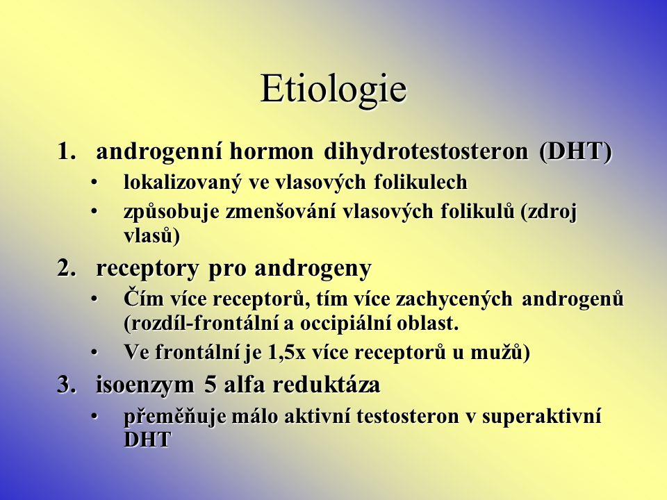 Etiologie 1.androgenní hormon dihydrotestosteron (DHT) lokalizovaný ve vlasových folikulechlokalizovaný ve vlasových folikulech způsobuje zmenšování v