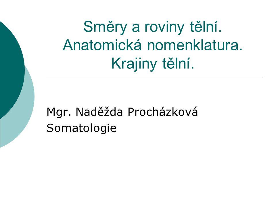 Směry a roviny tělní. Anatomická nomenklatura. Krajiny tělní. Mgr. Naděžda Procházková Somatologie