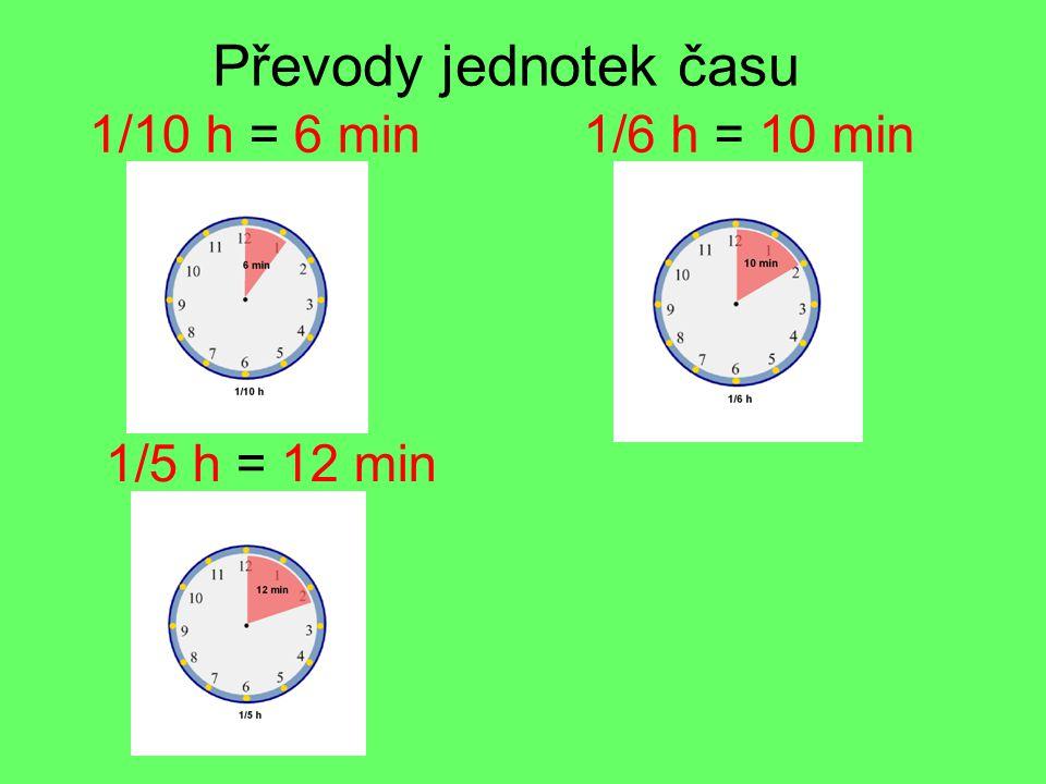 Převody jednotek času 1/5 h = 12 min 1/6 h = 10 min1/10 h = 6 min