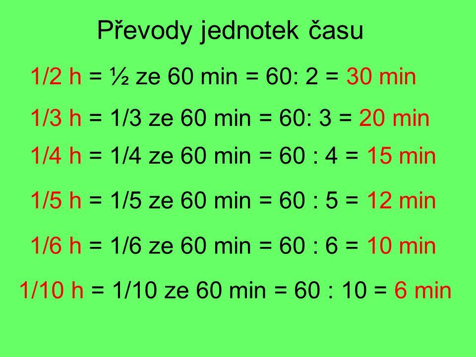 Převody jednotek času 1/2 h = ½ ze 60 min = 60: 2 = 30 min 1/3 h = 1/3 ze 60 min = 60: 3 = 20 min 1/4 h = 1/4 ze 60 min = 60 : 4 = 15 min 1/5 h = 1/5 ze 60 min = 60 : 5 = 12 min 1/6 h = 1/6 ze 60 min = 60 : 6 = 10 min 1/10 h = 1/10 ze 60 min = 60 : 10 = 6 min