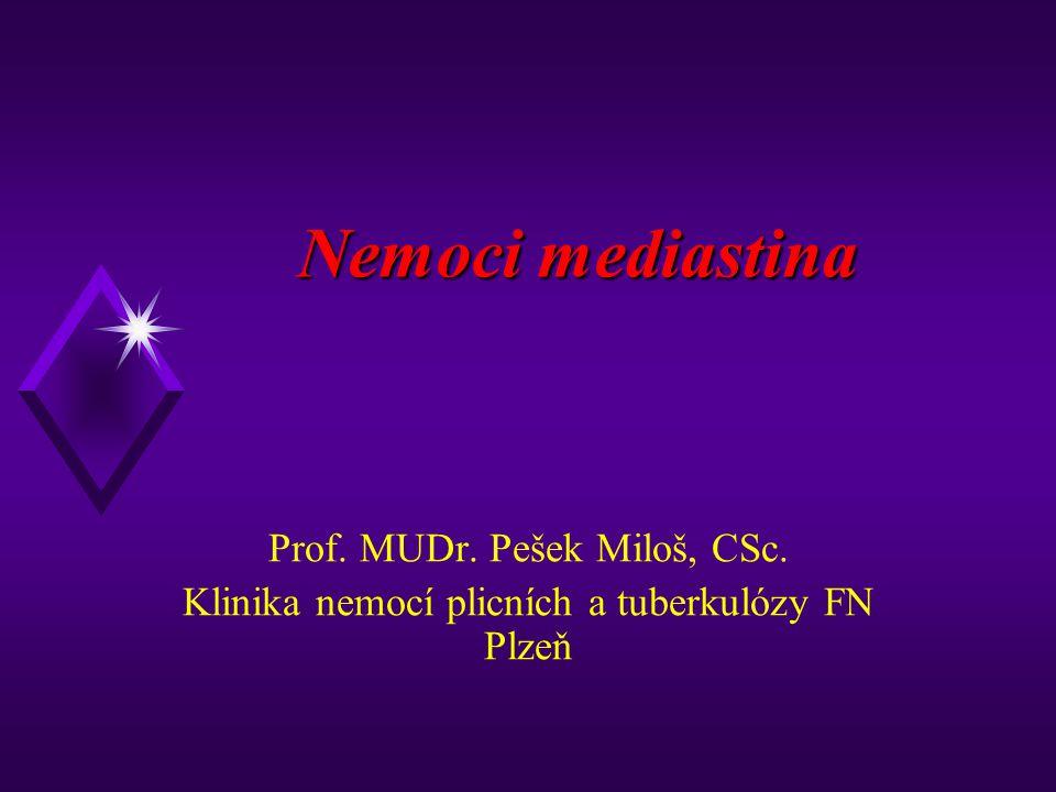 Nemoci mediastina Prof. MUDr. Pešek Miloš, CSc. Klinika nemocí plicních a tuberkulózy FN Plzeň