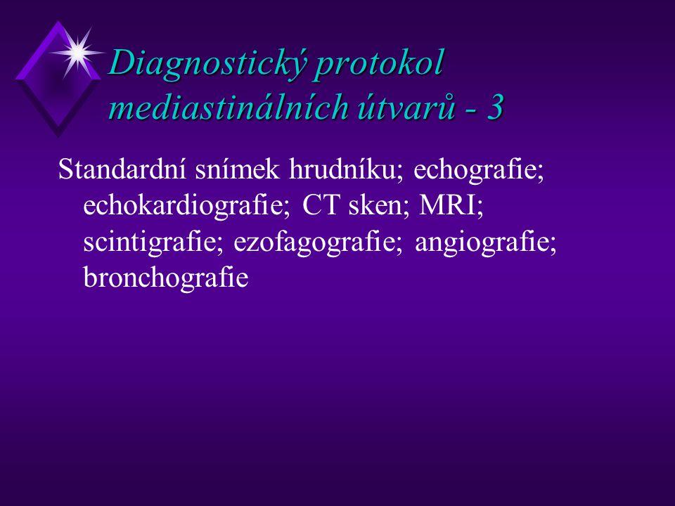 Diagnostický protokol mediastinálních útvarů - 3 Standardní snímek hrudníku; echografie; echokardiografie; CT sken; MRI; scintigrafie; ezofagografie; angiografie; bronchografie