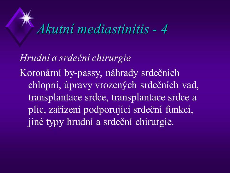 Akutní mediastinitis - 4 Hrudní a srdeční chirurgie Koronární by-passy, náhrady srdečních chlopní, úpravy vrozených srdečních vad, transplantace srdce