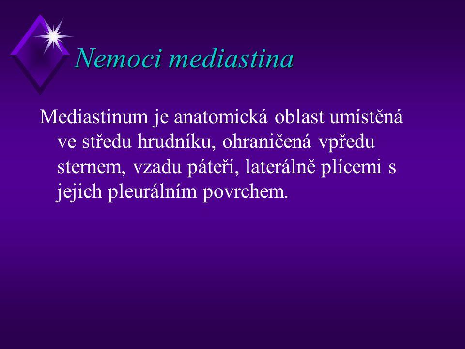 Nemoci mediastina Mediastinum je anatomická oblast umístěná ve středu hrudníku, ohraničená vpředu sternem, vzadu páteří, laterálně plícemi s jejich pl