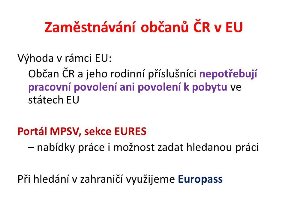 Zaměstnávání občanů ČR v EU Výhoda v rámci EU: Občan ČR a jeho rodinní příslušníci nepotřebují pracovní povolení ani povolení k pobytu ve státech EU Portál MPSV, sekce EURES – nabídky práce i možnost zadat hledanou práci Při hledání v zahraničí využijeme Europass