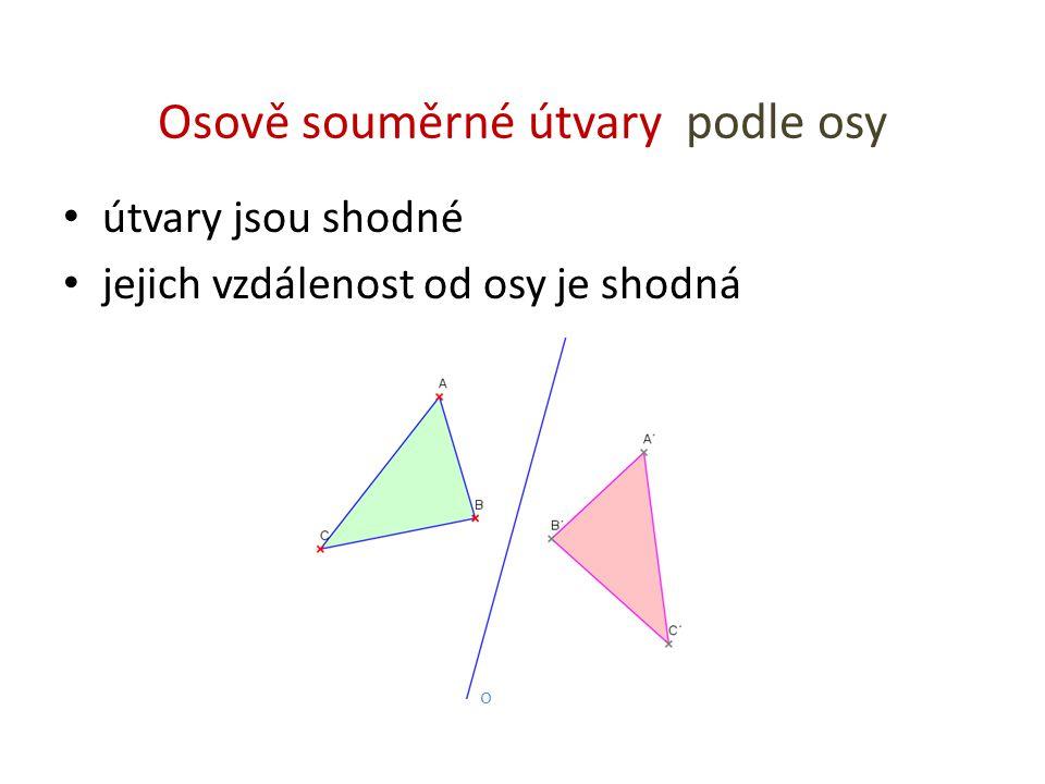 Osově souměrné útvary podle osy útvary jsou shodné jejich vzdálenost od osy je shodná o