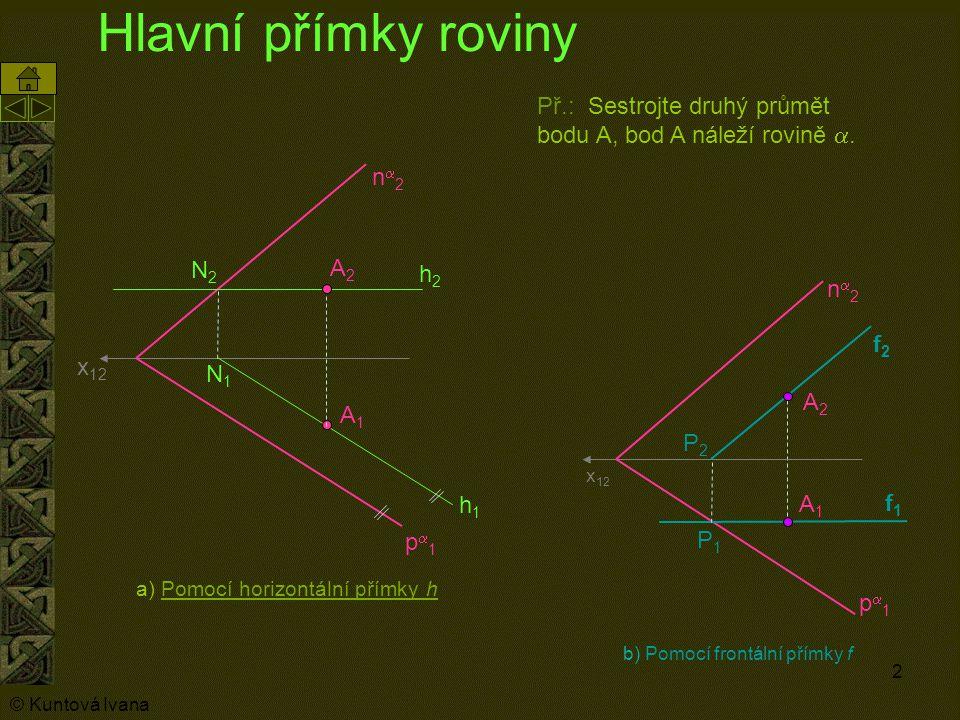 3 Hlavní a spádová přímka roviny x 12 p1p1 n2n2 h1h1 h2h2 N1N1 N2N2 A1A1 A2A2 Př.: Sestrojte druhý průmět bodu A pomocí spádové přímky roviny tak, aby bod A náležel rovině .