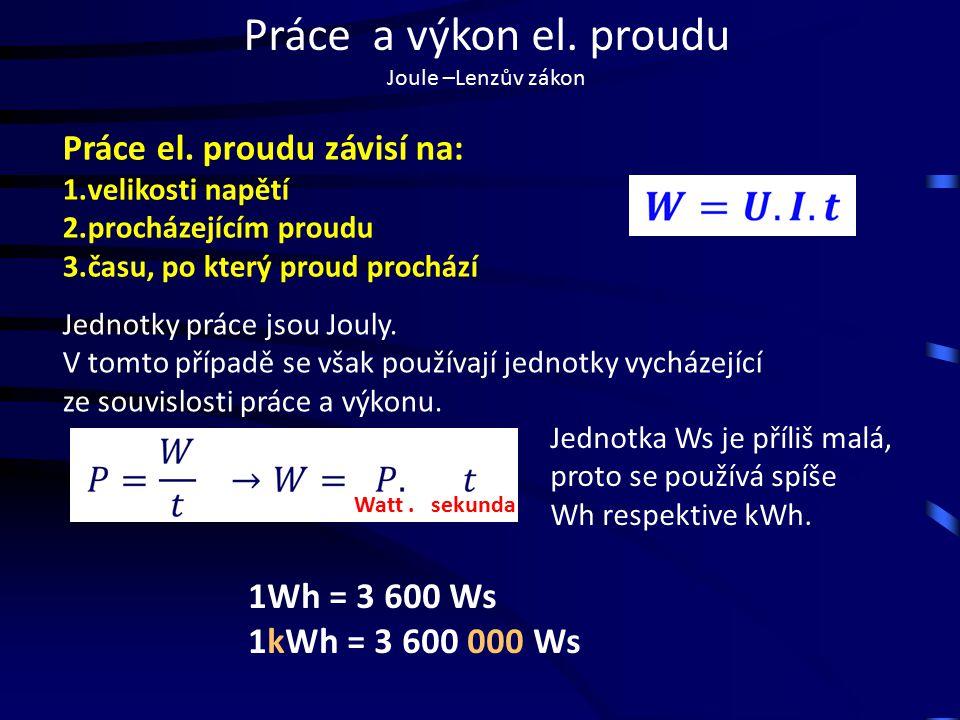 Práce a výkon el. proudu Joule –Lenzův zákon Práce el.