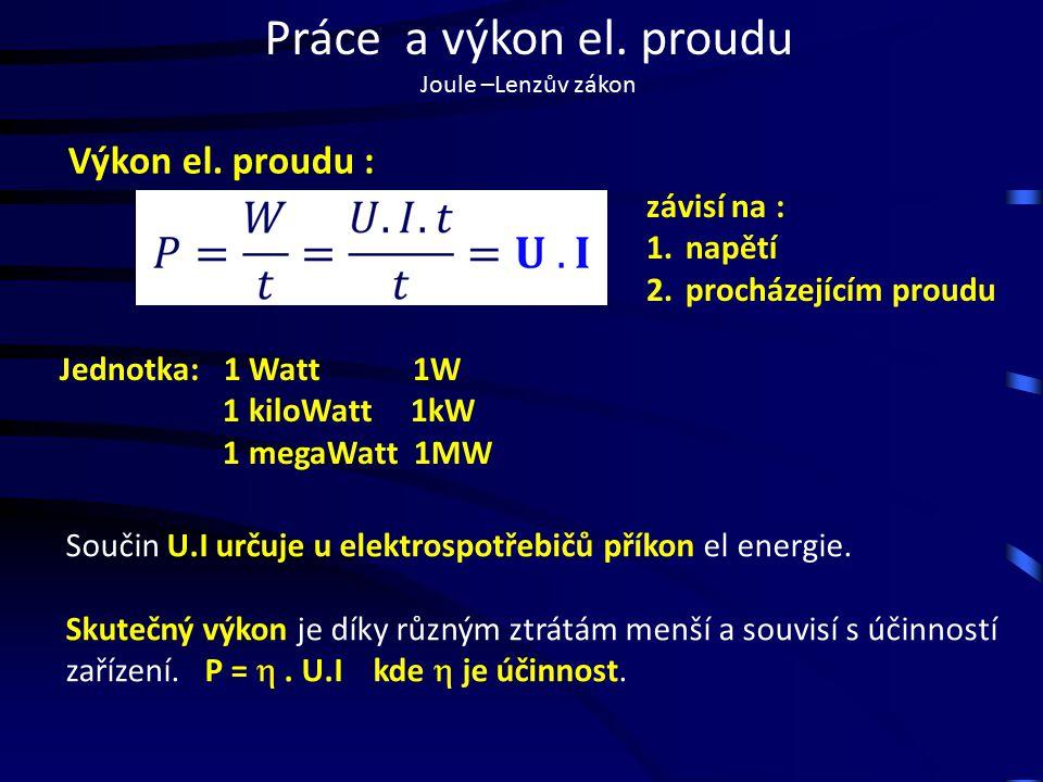 Práce a výkon el. proudu Joule –Lenzův zákon Výkon el.