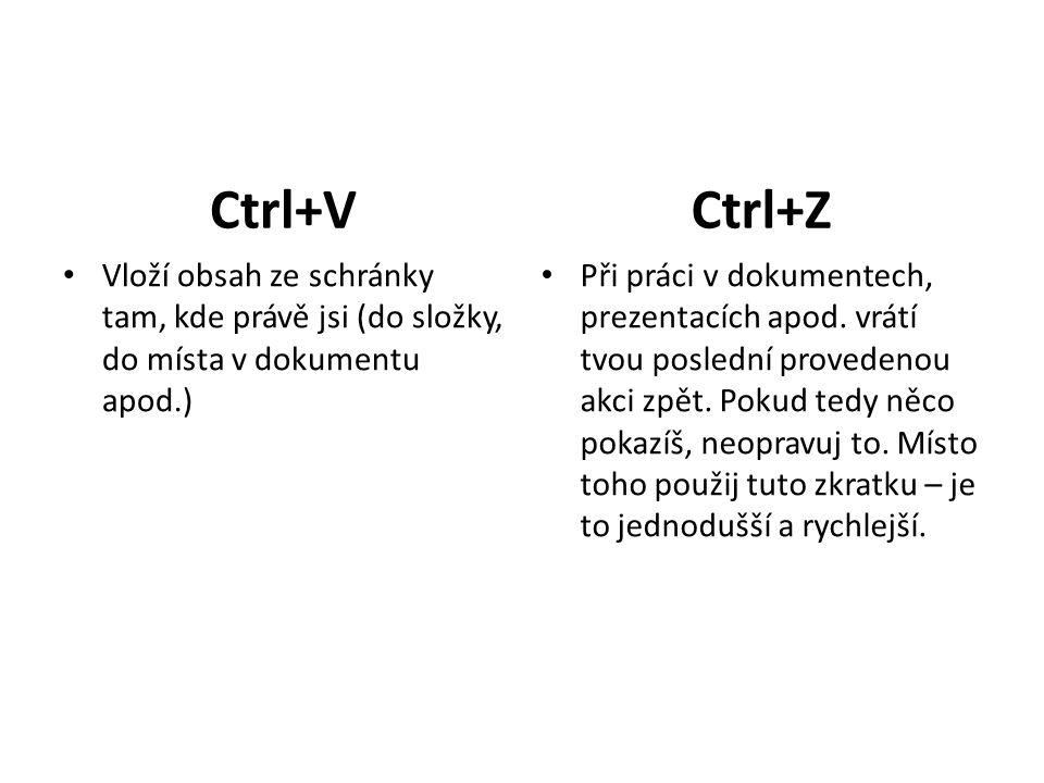 Ctrl+V Vloží obsah ze schránky tam, kde právě jsi (do složky, do místa v dokumentu apod.) Ctrl+Z Při práci v dokumentech, prezentacích apod.